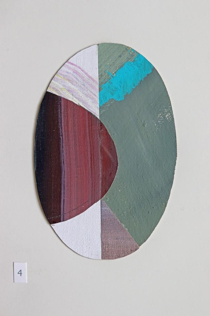 ovaal 4 [verkocht] - collage - 2020 - olieverf op linnen - 17x11cm